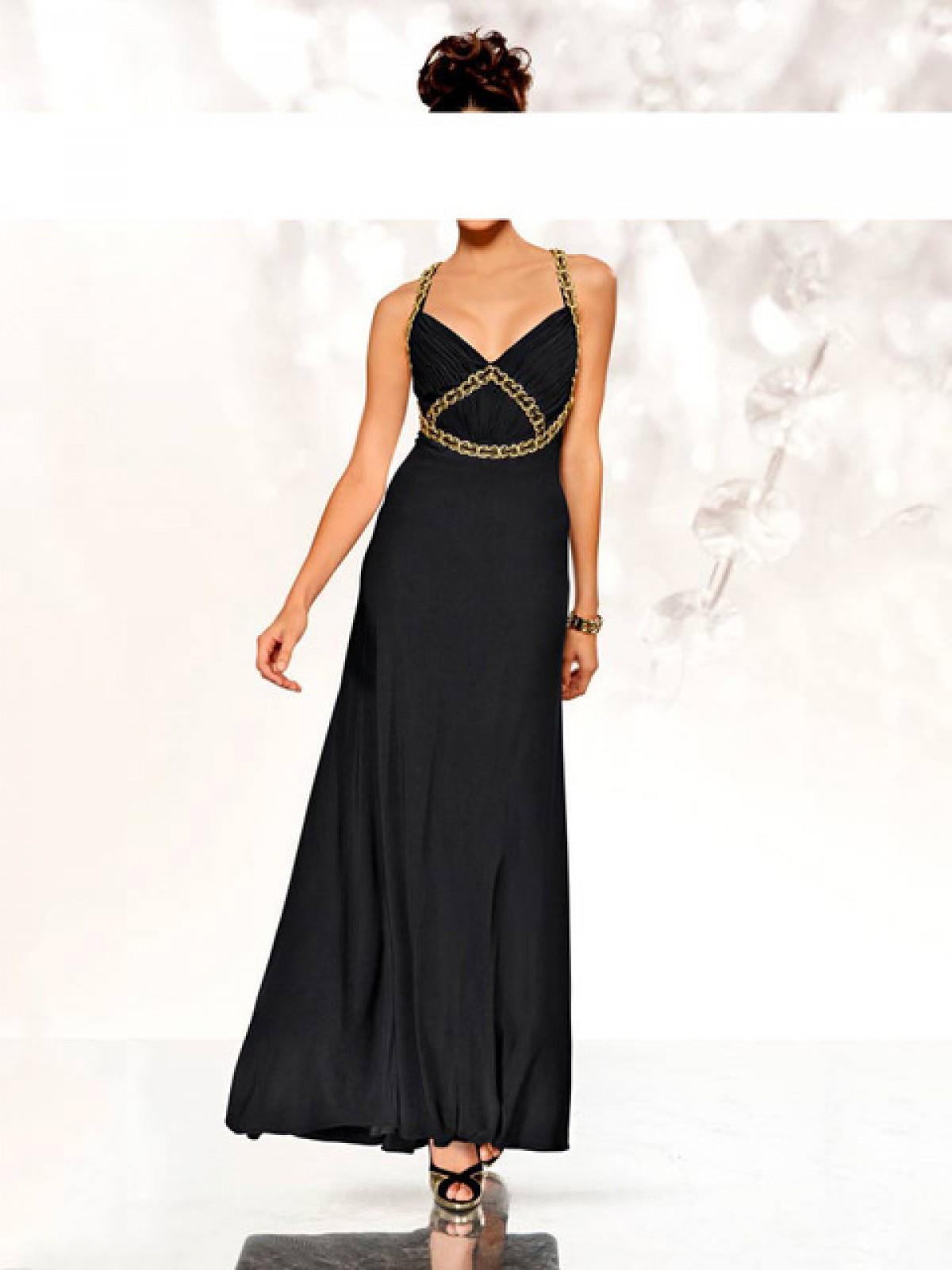 Langes Abendkleid schwarz mit tiefem Ausschnitt vorn und hinten - ...