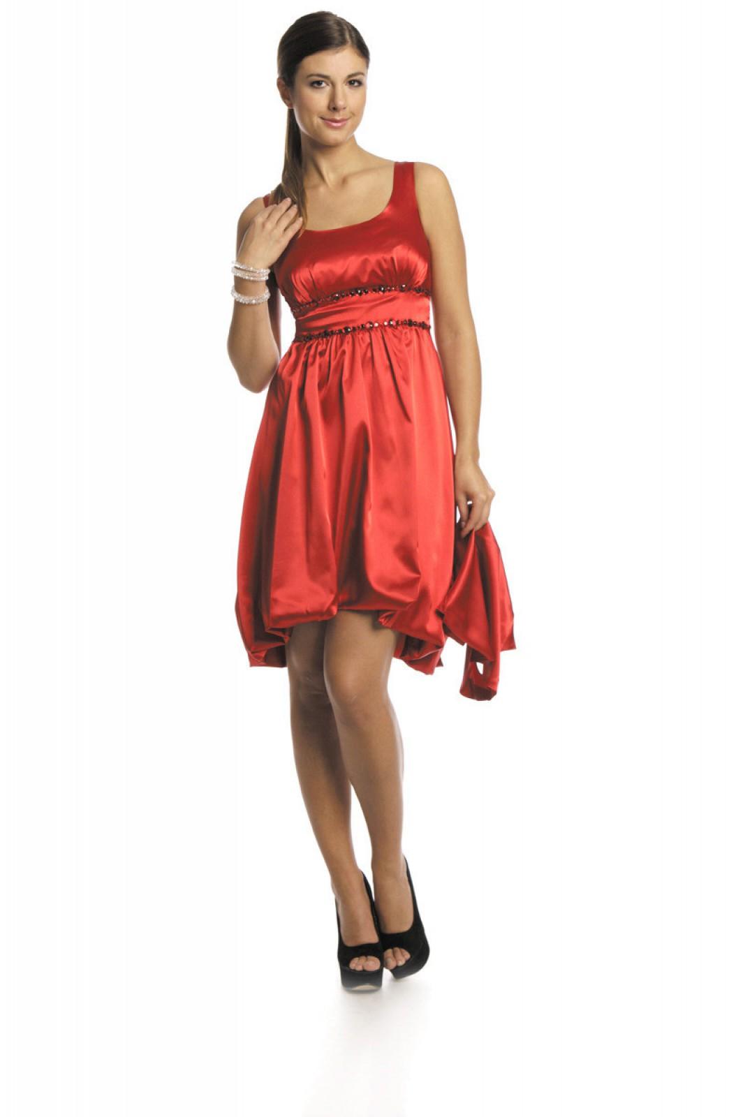 Rotes Cocktailkleid in Ballonform mit Bolero bei ...