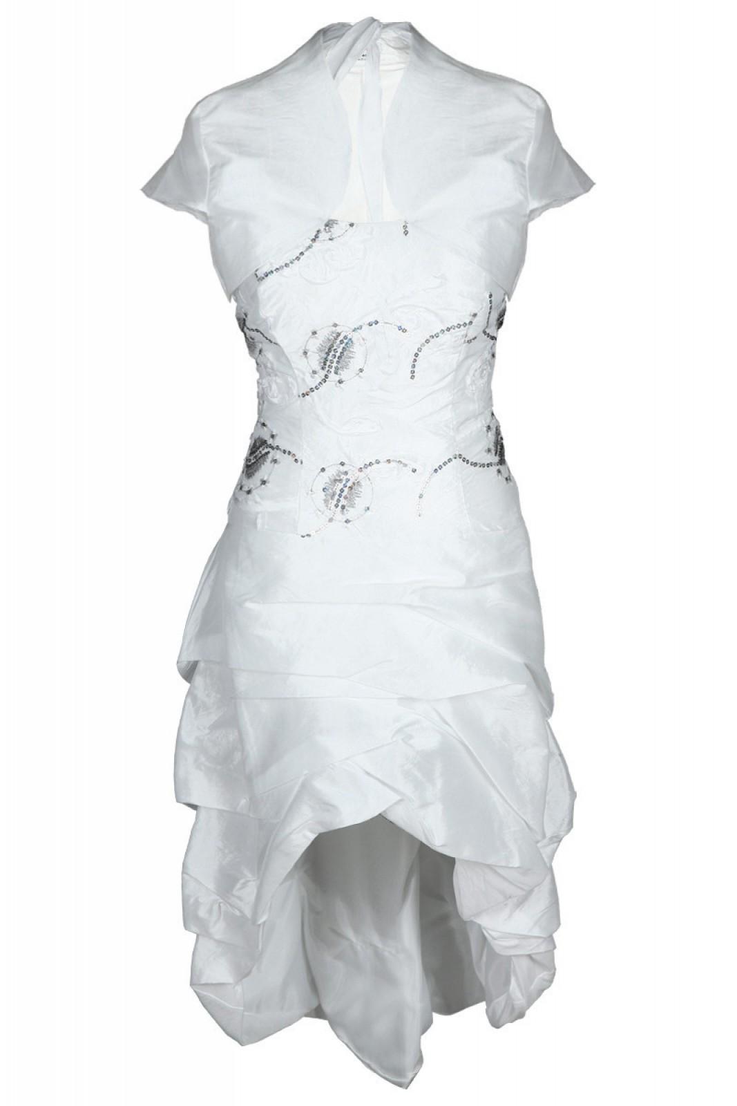 Hochzeitskleid, Tanzkleid, Vokuhila, knielang, mit Jäckchen, weiß