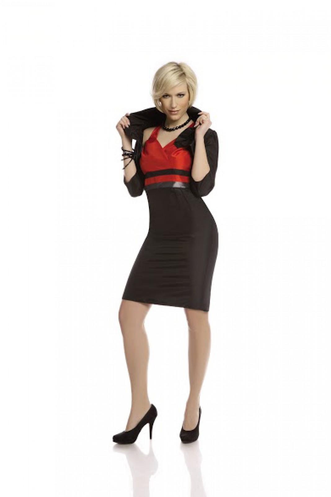 Elegante Cocktailkleid mit Bolero in den Kontrastfarben schwarz ...