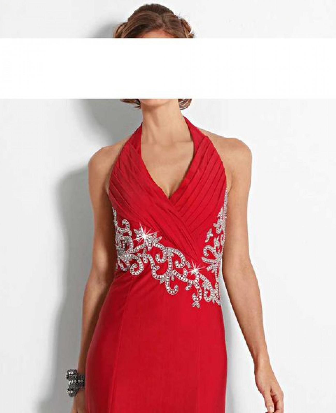 Neckholder abendkleid mit gehschlitz und strassbesatz rot for Rotes kleid mit schlitz