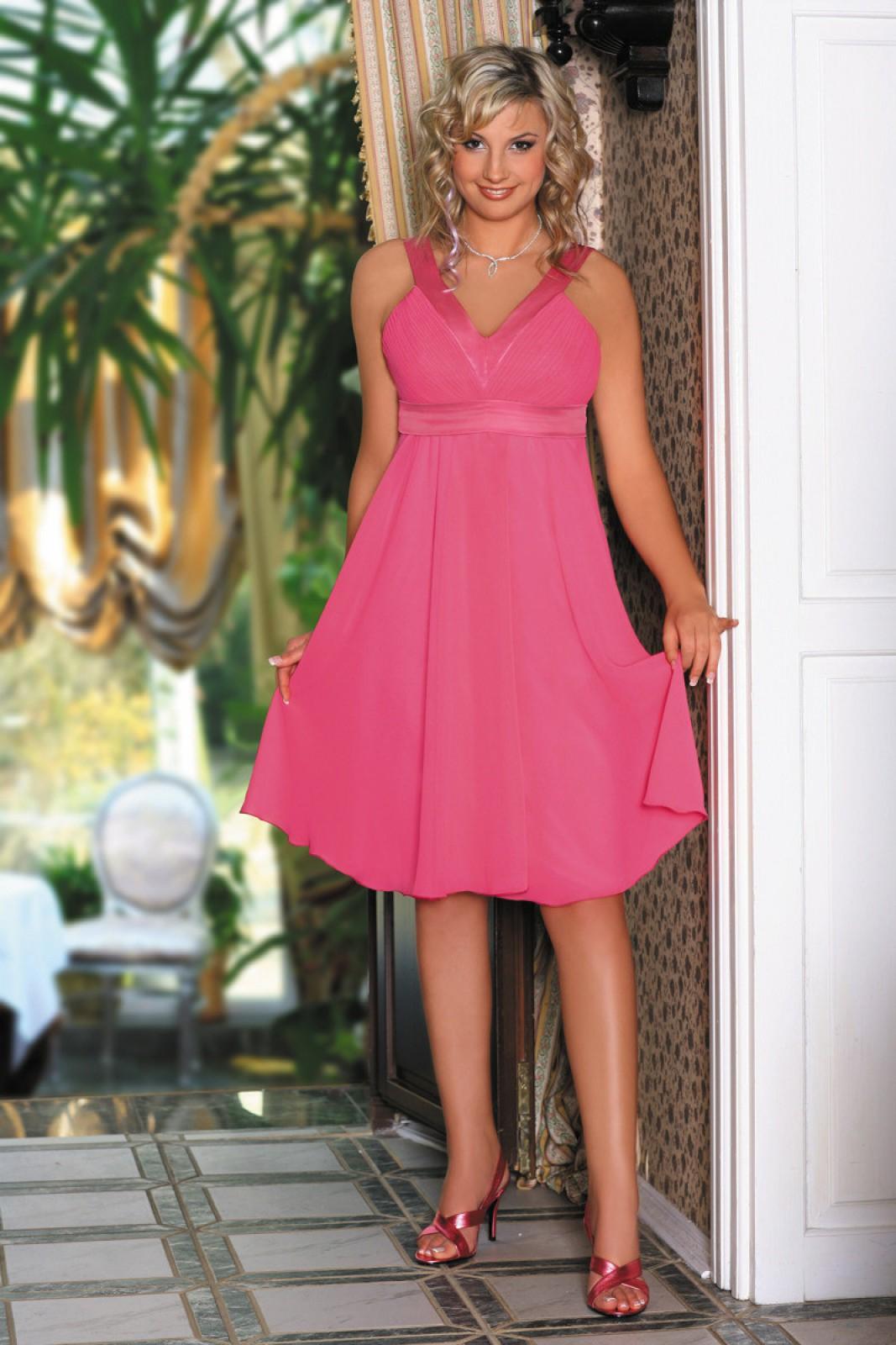 Partykleider amaranth aus luftigem Chiffon mit V-Ausschnitt - ...