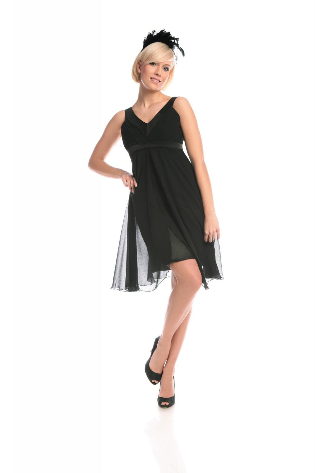 Schwarze Partykleider aus luftigem Chiffon mit V-Ausschnitt - ...