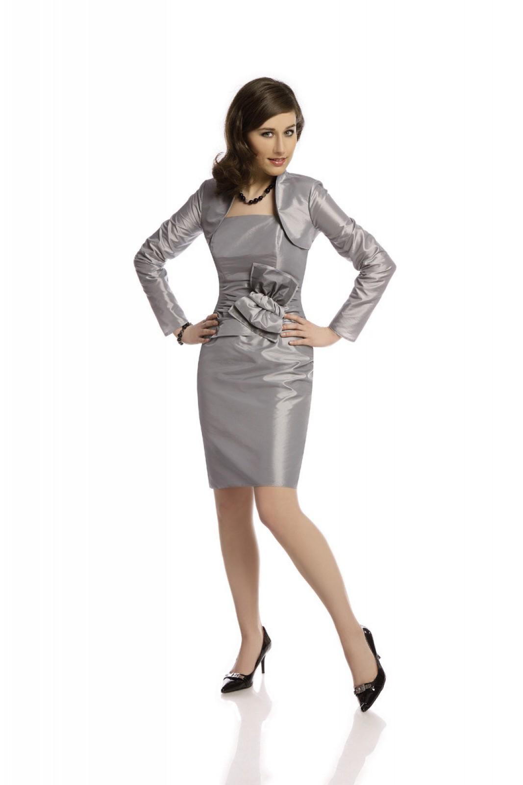 Preiswerte Partykleider in Silbergrau mit Schleife preiswert ...