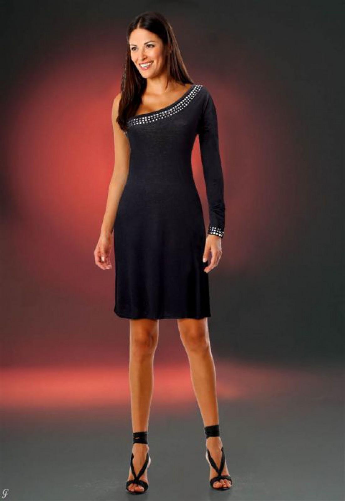 Schwarzes Kleid mit asymmetrischem Dekolleté und nur einem Ärmel ...