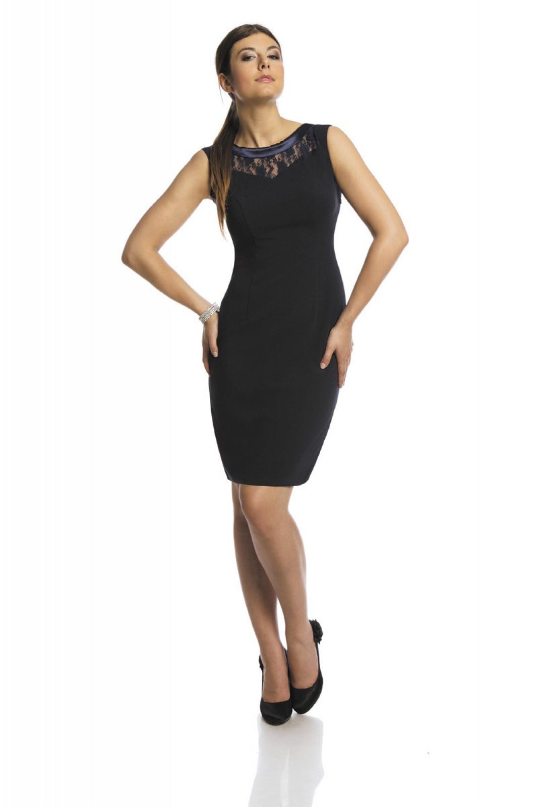 Knielanges, schmales Kleid, ärmellos mit Spitze im Halsbereich - ...