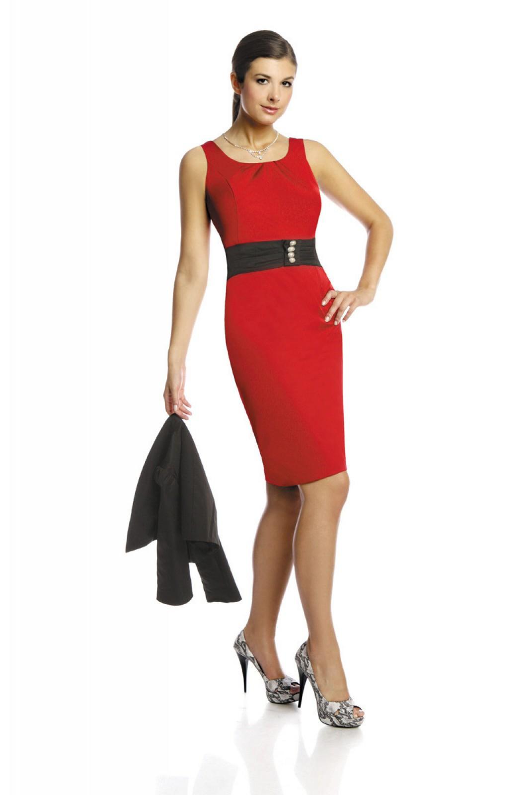 Klassisches 2-teiliges EtuiKleid schwarz rot preiswert bei ...