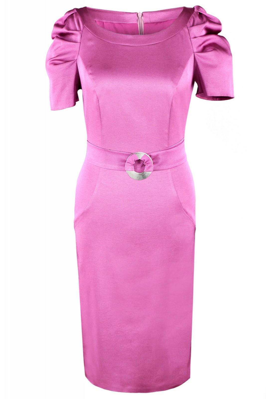 Zeitlos-elegantes Kleid in Amaranth mit gerafften kurzen Ärmeln - ...
