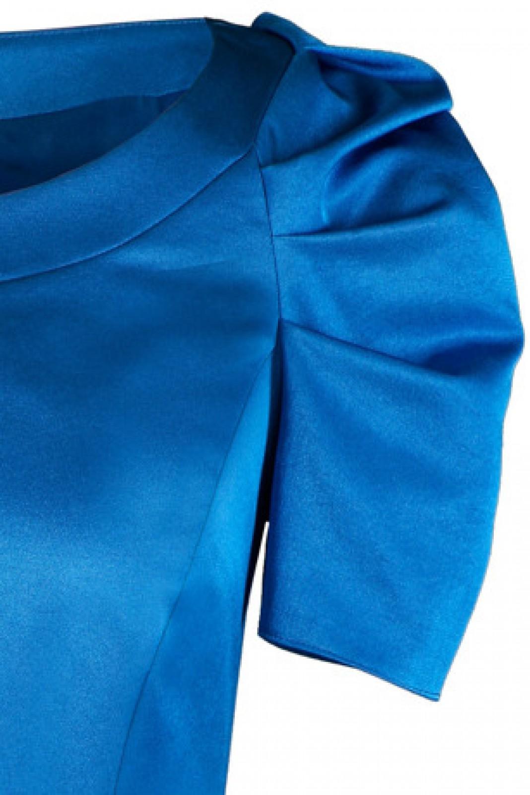 Zeitlos-elegantes Kleid in Kornblumen-Blau mit gerafften kurzen ...