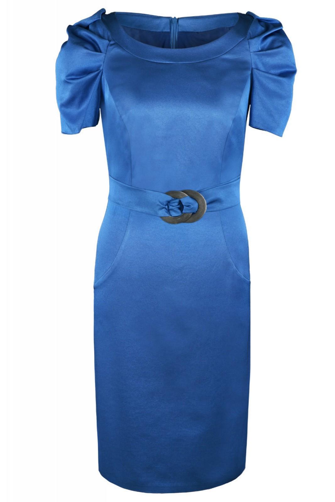 Blaues kleid puffarmel