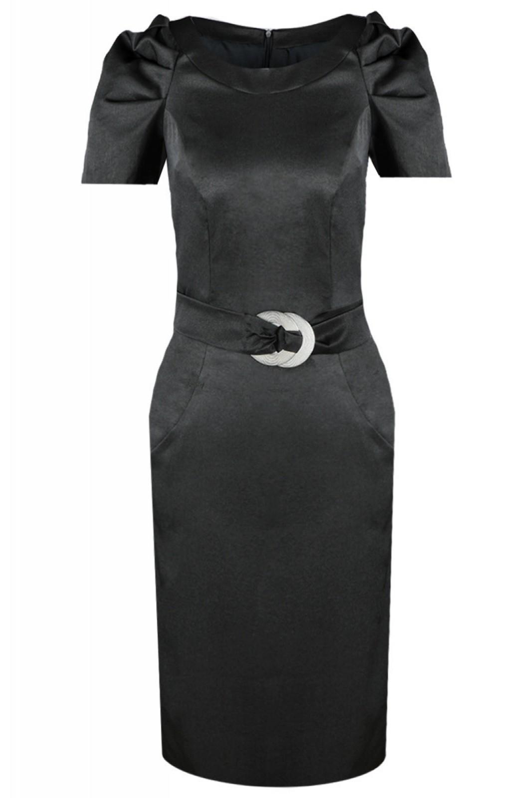 Zeitlos-elegantes Kleid in Schwarz mit gerafften kurzen Ärmeln - ...