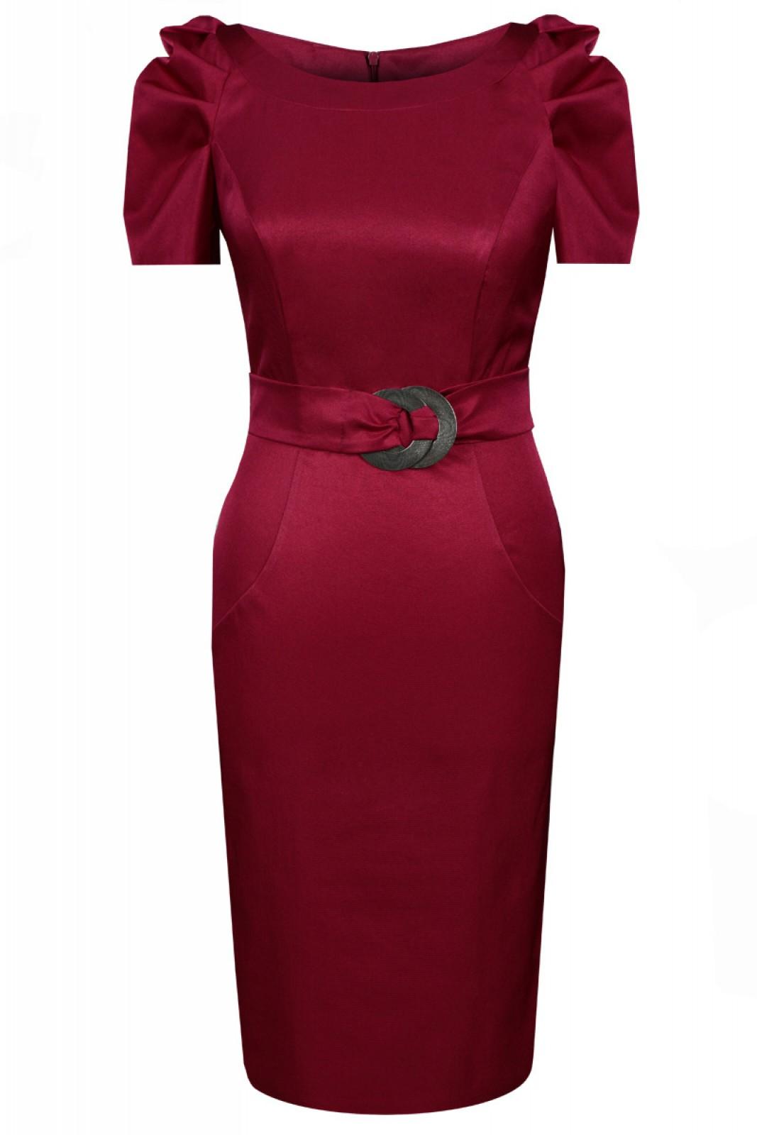 Zeitlos-elegantes Kleid in Bordeaux mit gerafften kurzen Ärmeln - ...