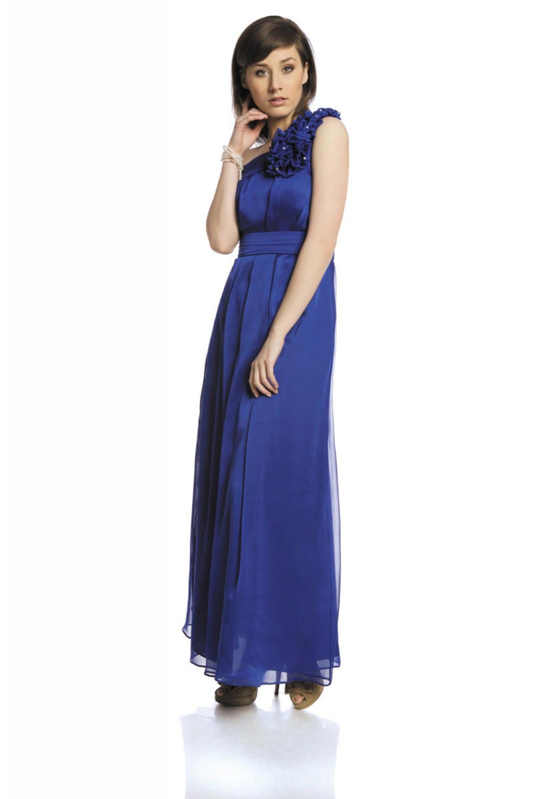 One Shoulder Abendkleid aus Chiffon kornblumenblau mit ...