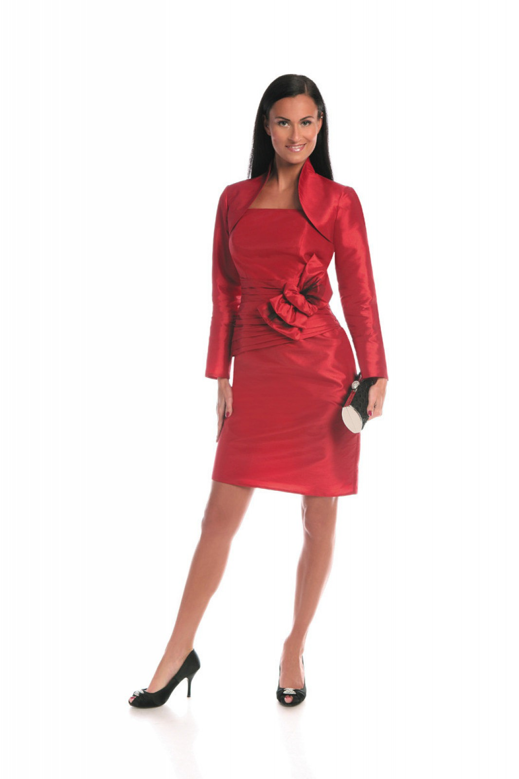 Rotes Cocktailkleid mit großer Schleife und schmalen Trägern - ...
