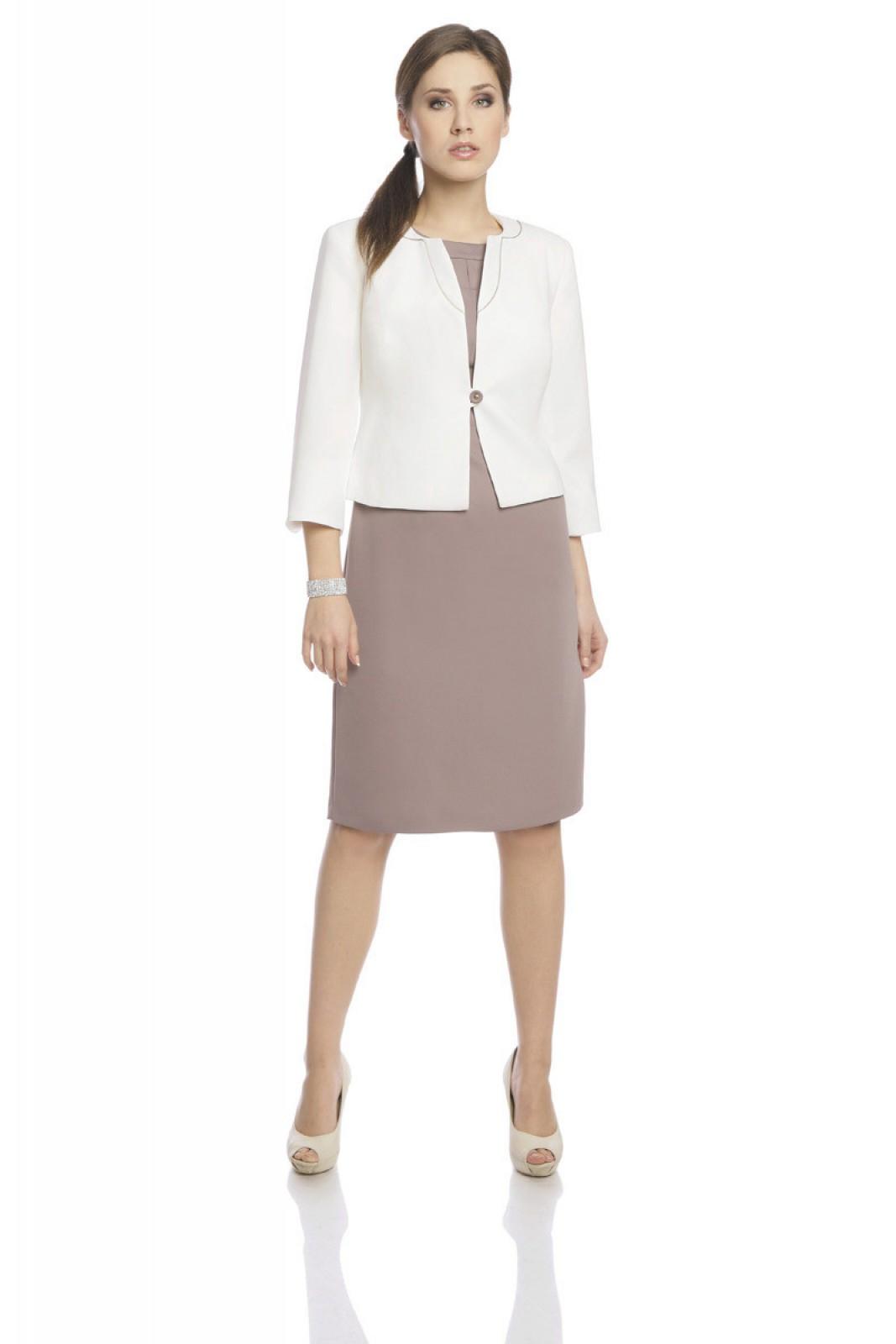 27cb2e28ccf45b Businessoutfit schwarz-ecru, zweiteilig mit knielangen Kleid und Jacke mit  Stoffeinsätzen · Etuikleid ...