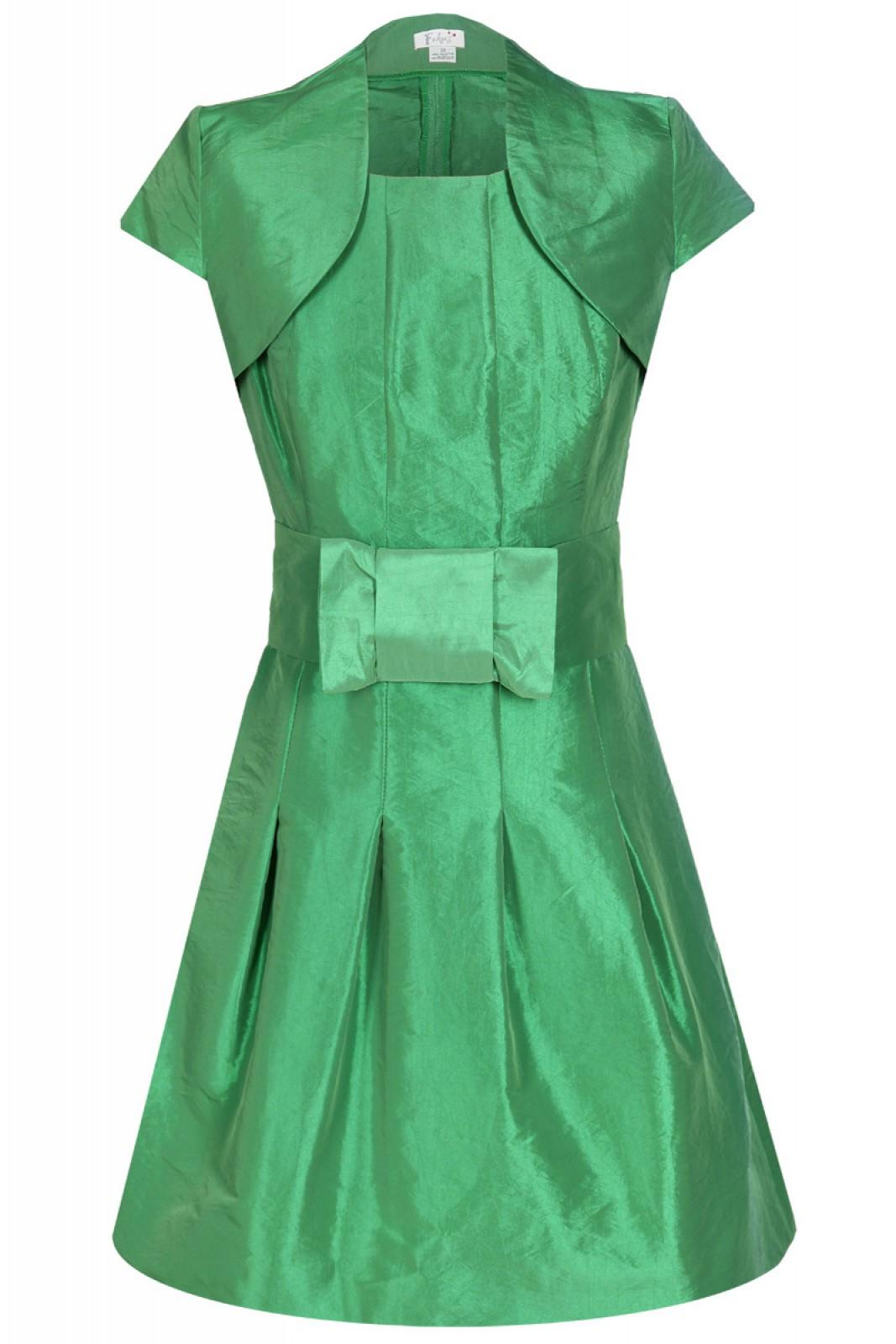 Partykleid grün mit Ballonrock und Stoff-Gürtel mit Schleife - ...