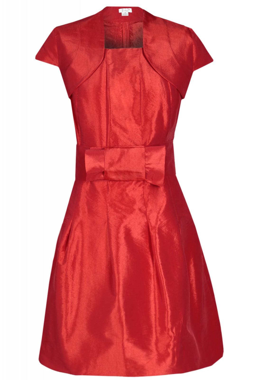 Partykleid rot mit Ballonrock und Stoff-Gürtel mit Schleife - ...