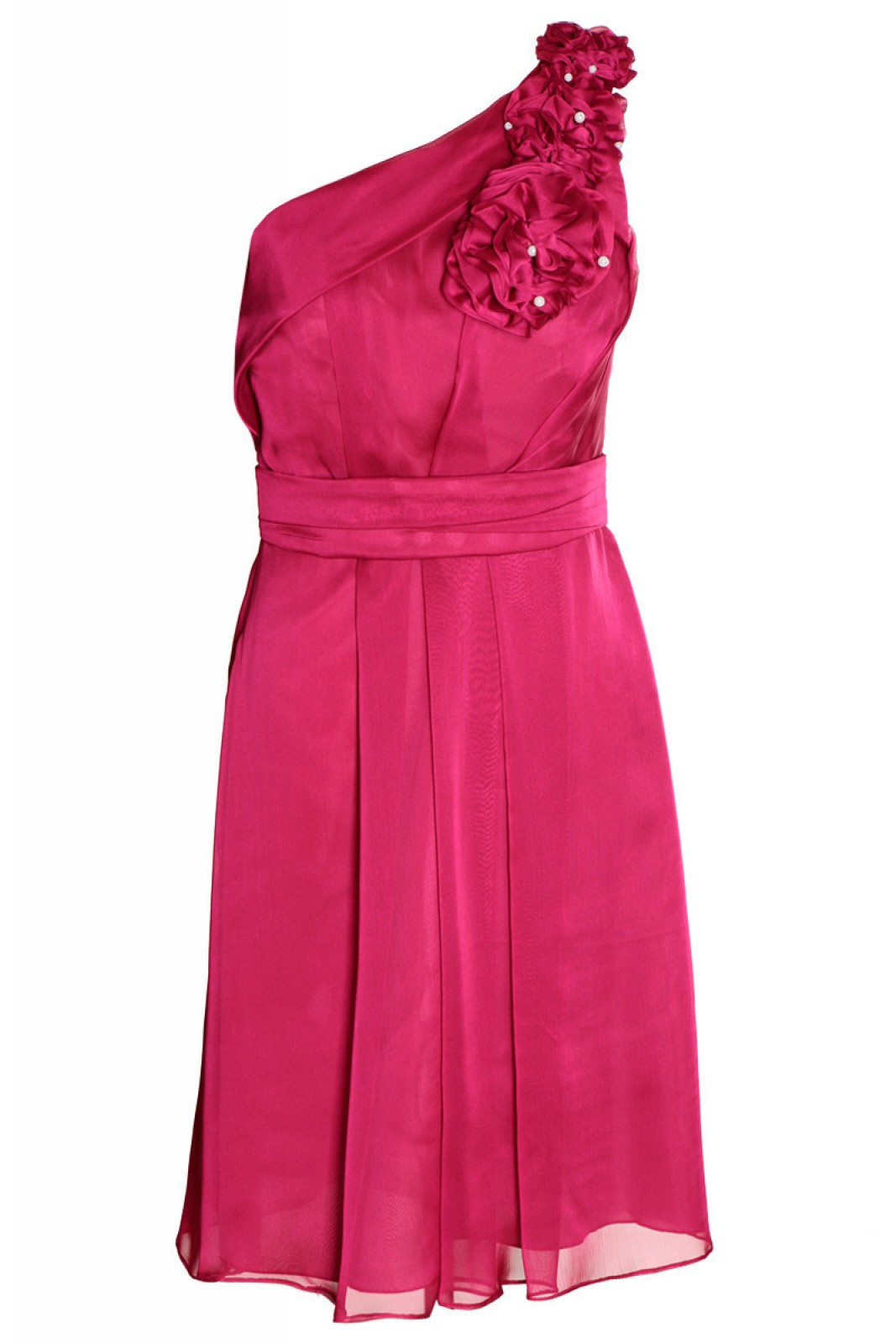 One Shoulder Chiffon Kleid rubinrot mit Blumenapplikation - ...