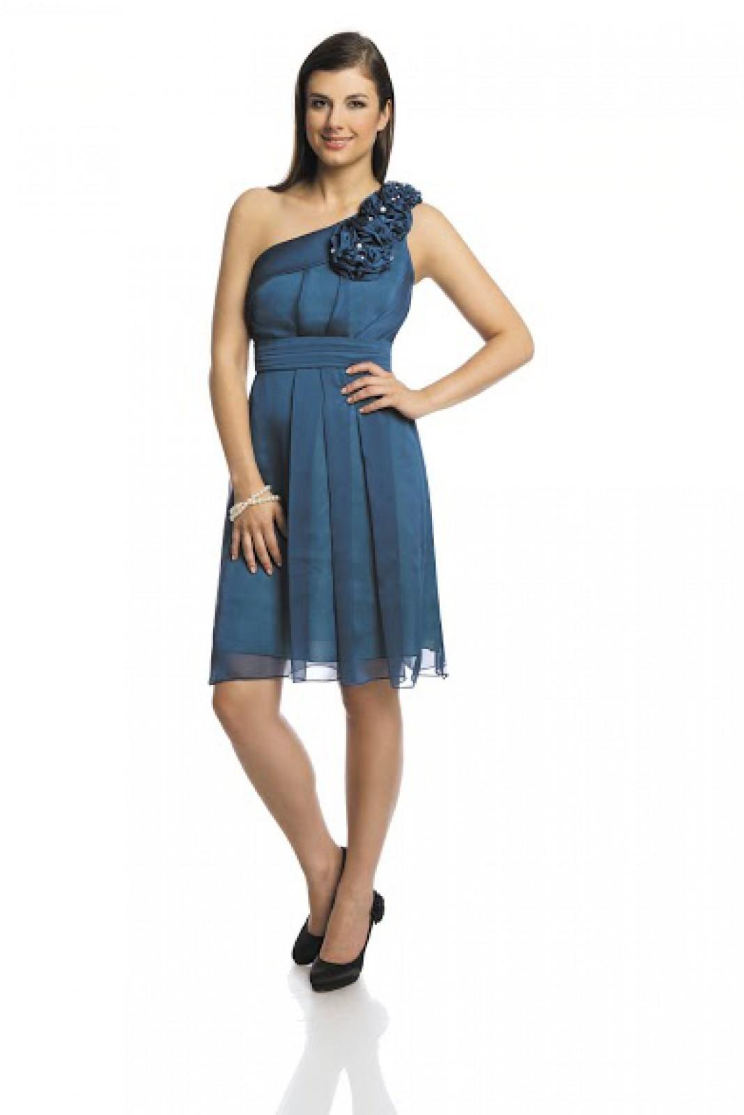 Kurze One-Shoulder-Chiffon-Kleider blau bei kleider-boutique.de - ...