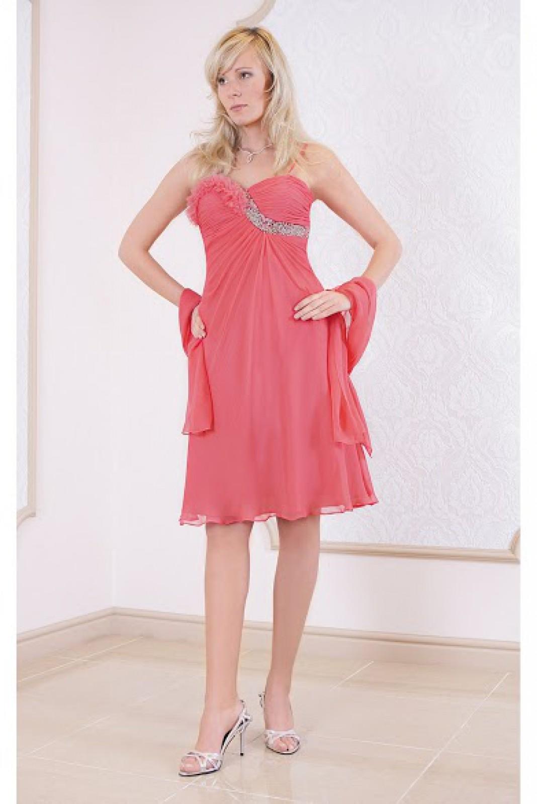 Cocktailkleid / kurzes Abendkleid rosa mit Schal bei ...