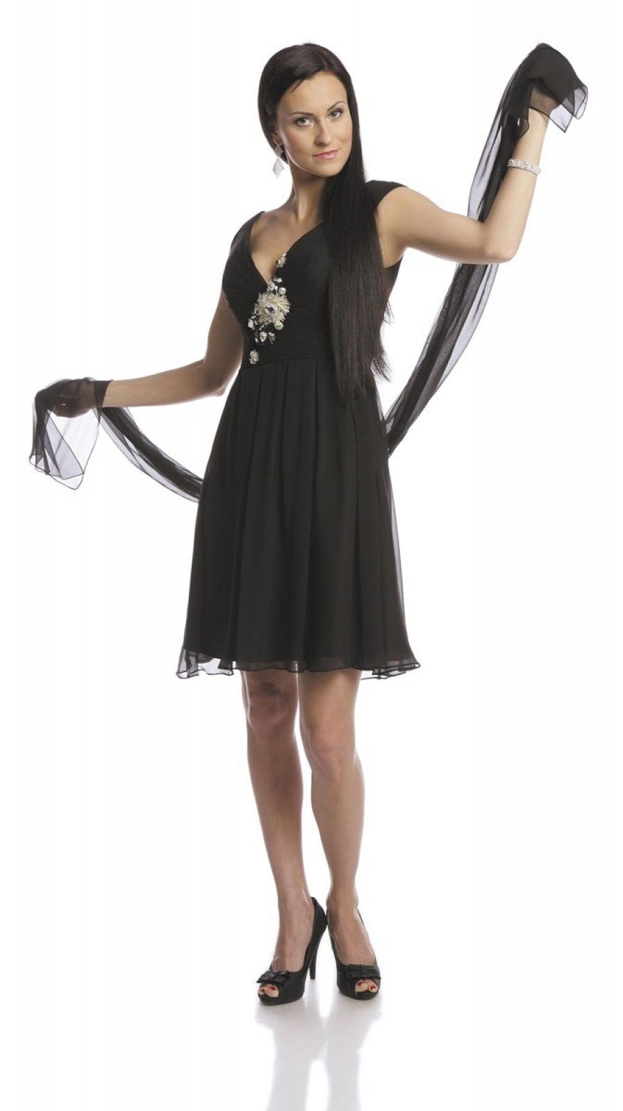 Schwarzes Kleid aus Seide mit Perlen und Pailletten online kaufen ...