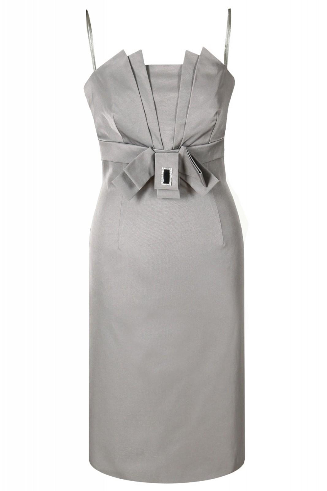 Cocktailkleid aus Satin grau bei kleider-boutique.de - Kleiderboutique