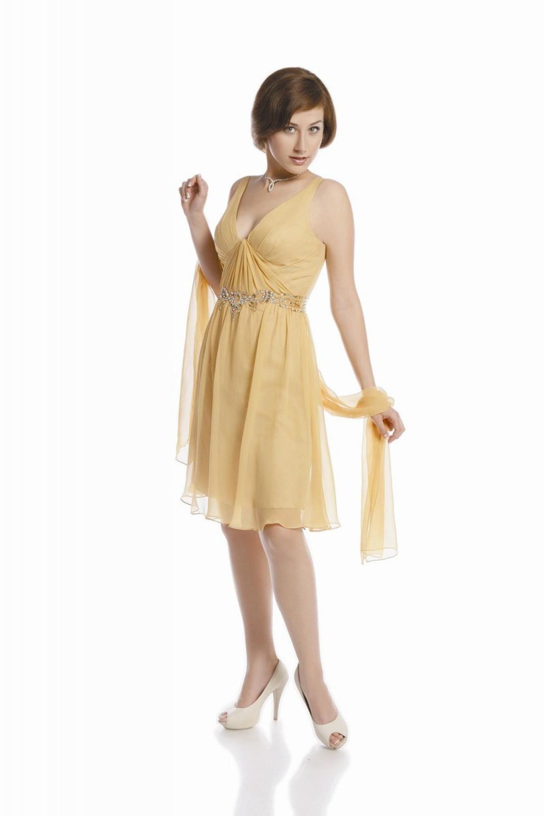 Mini-Abendkleid mit Schal aus feiner Seide in Gold-Gelb - ...