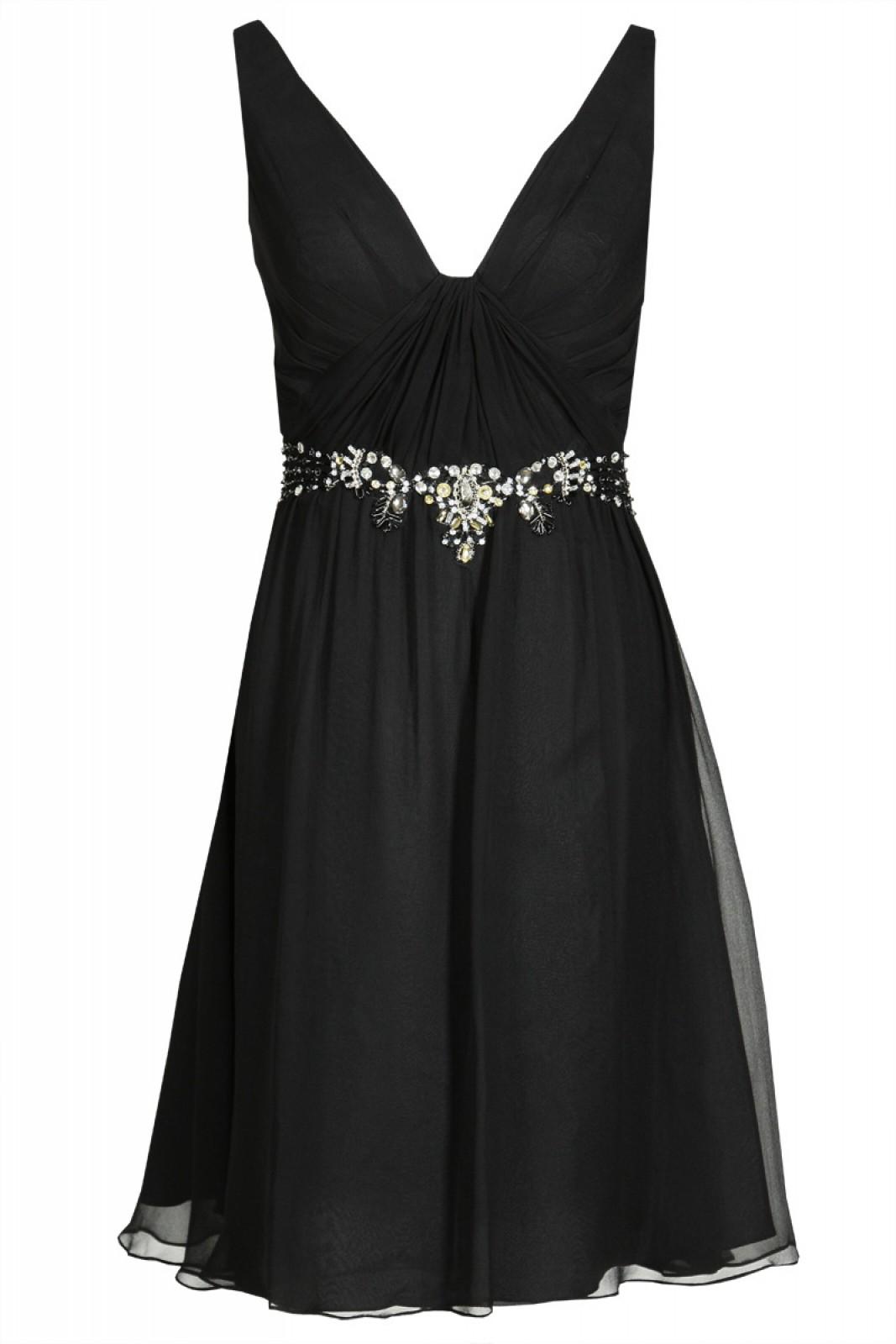 Romantisches Partykleid mit Schal aus feiner Seide, schwarz - ...