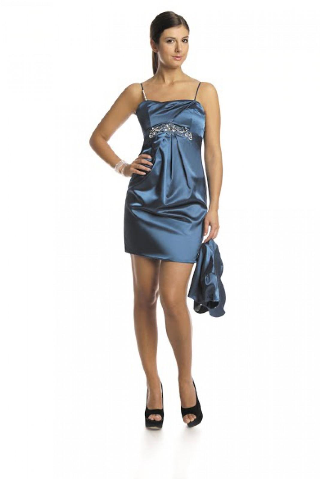 Glänzendes Mini-Partykleid aus Satin mit aufwendigen Verzierungen ...