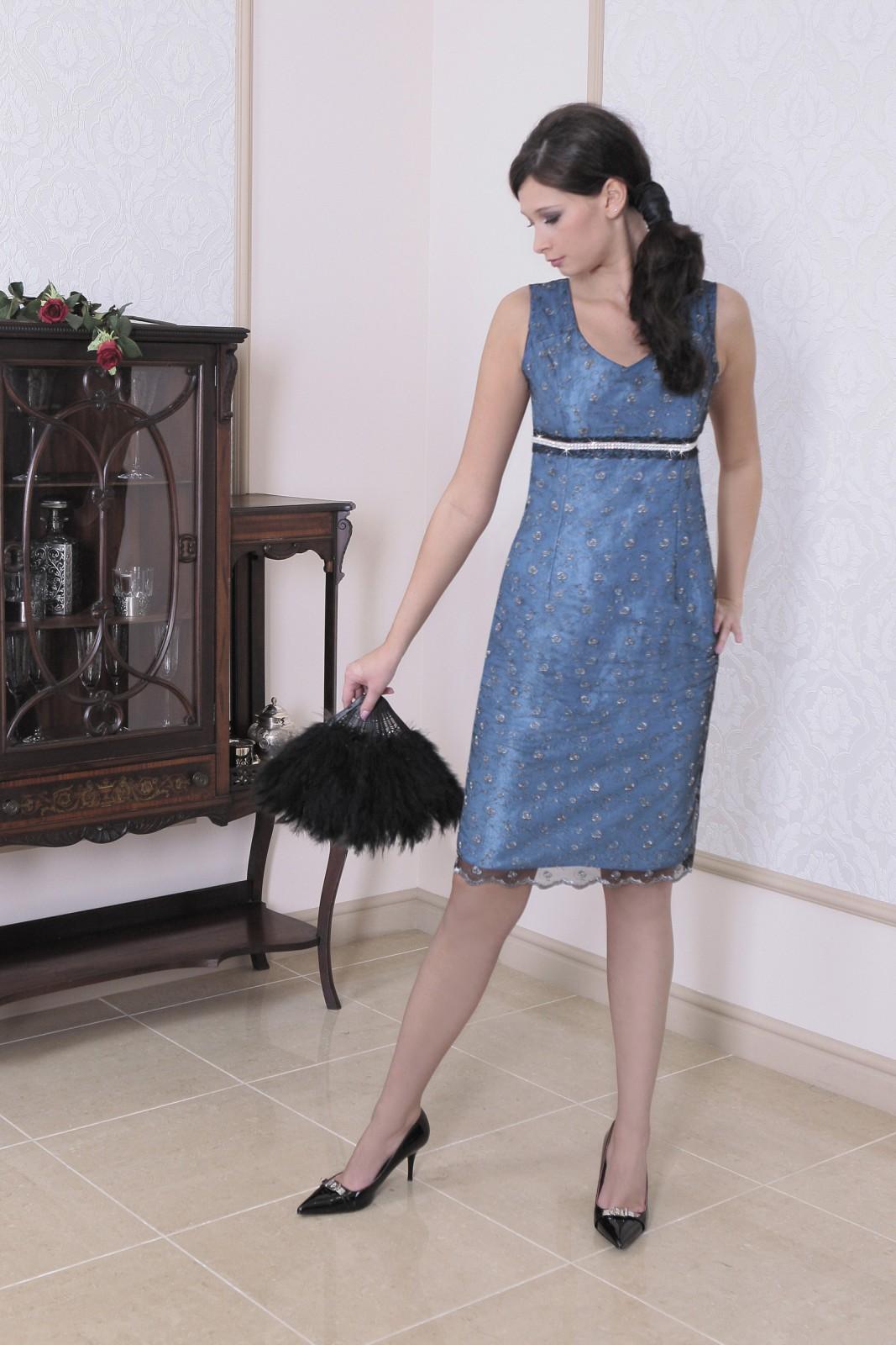 cocktailkleid blau aus taft spitze mit hochgezogener taille mit. Black Bedroom Furniture Sets. Home Design Ideas