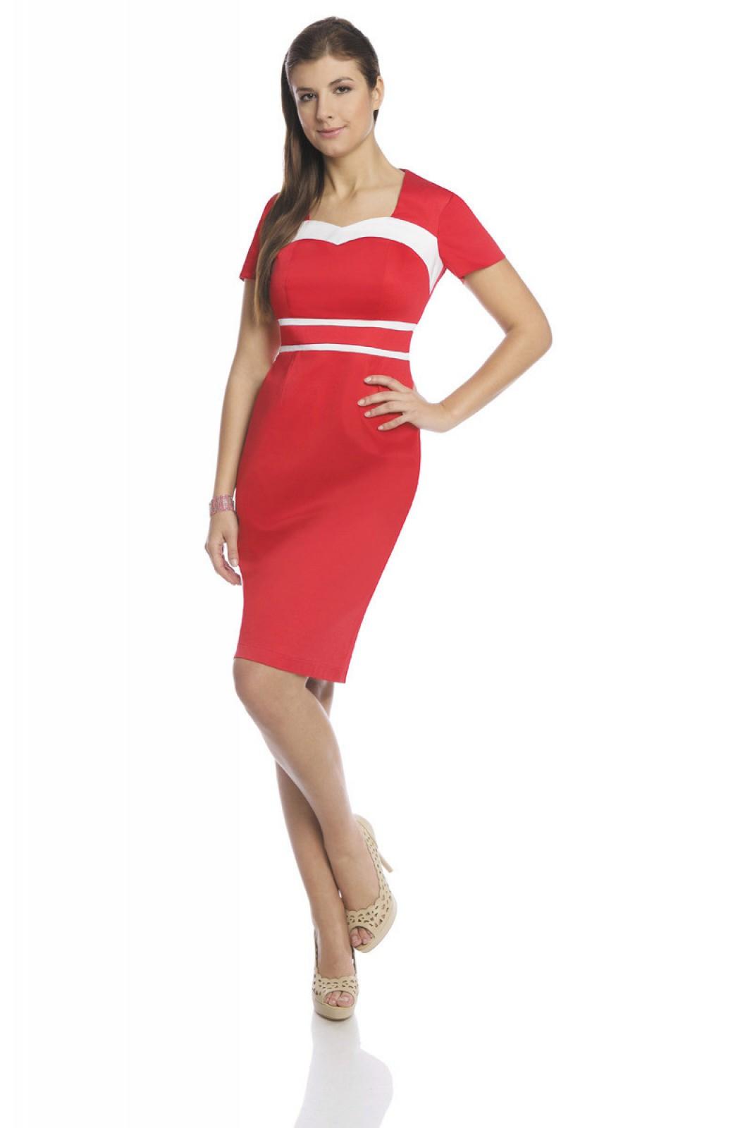 Zweifarbiges Business Kleid rot weiß bei kleider-boutique.de - ...